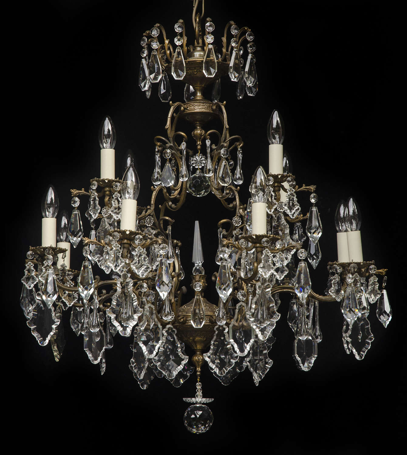 Large 2 tiered, 12 light, Italian Antique Chandelier