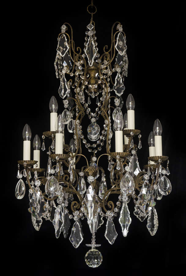 Large 2 tiered, 12 light, Italian Bohemian Vintage Chandelier