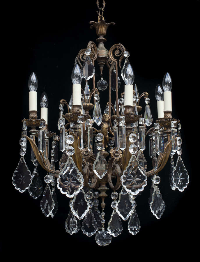 Large 8 light Italian Antique Chandelier with central cherub figure