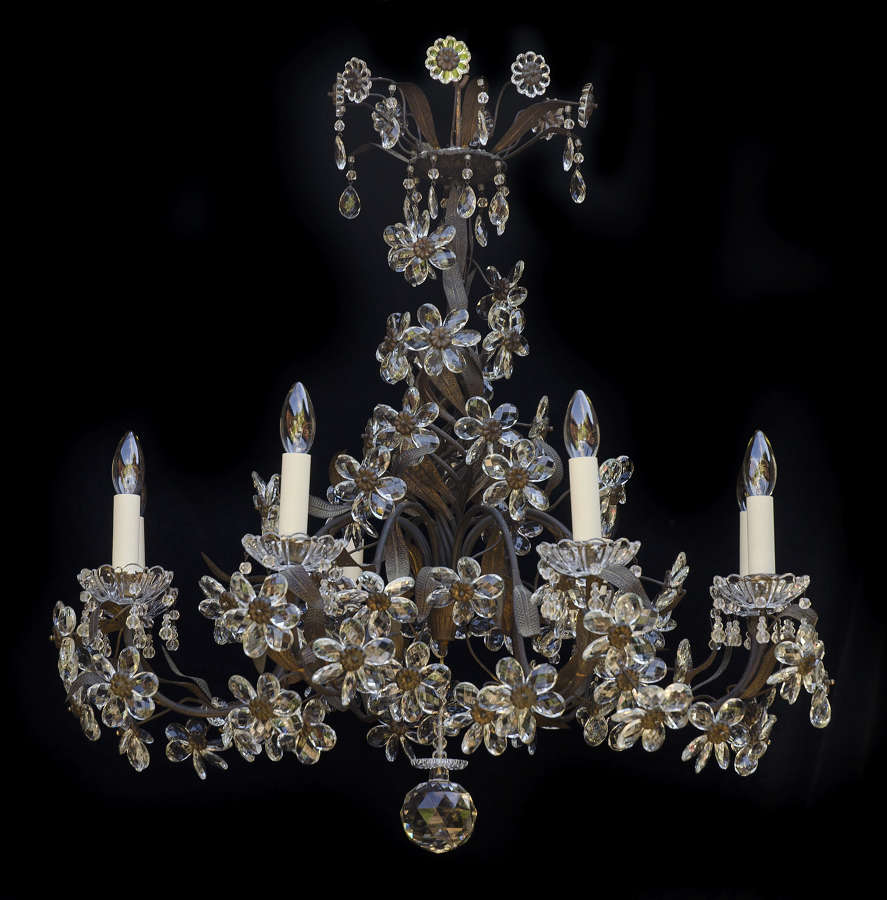 Large 8 light Italian Antique Chandelier with crystal flowers