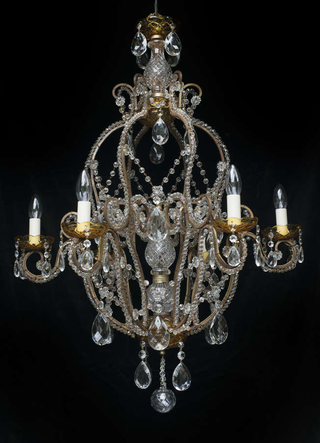 Large 6 light Italian Antique Chandelier with amber bobeche