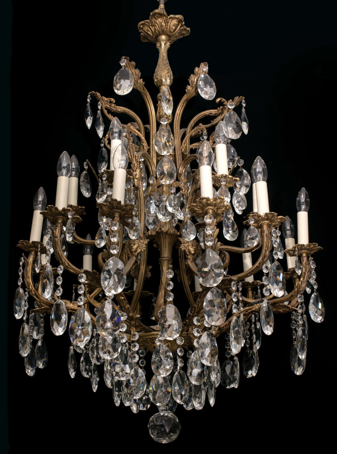 Very Large 18 light Italian Antique Chandelier with ladies faces