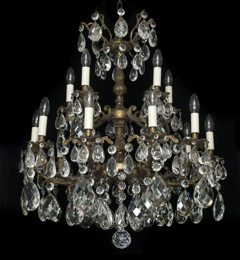 Large PAIR of 15 Light Italian Antique Chandeliers