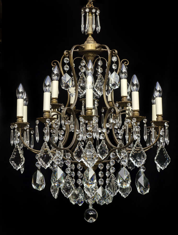 Large 2 Tiered, 15 Light Italian Antique Chandelier