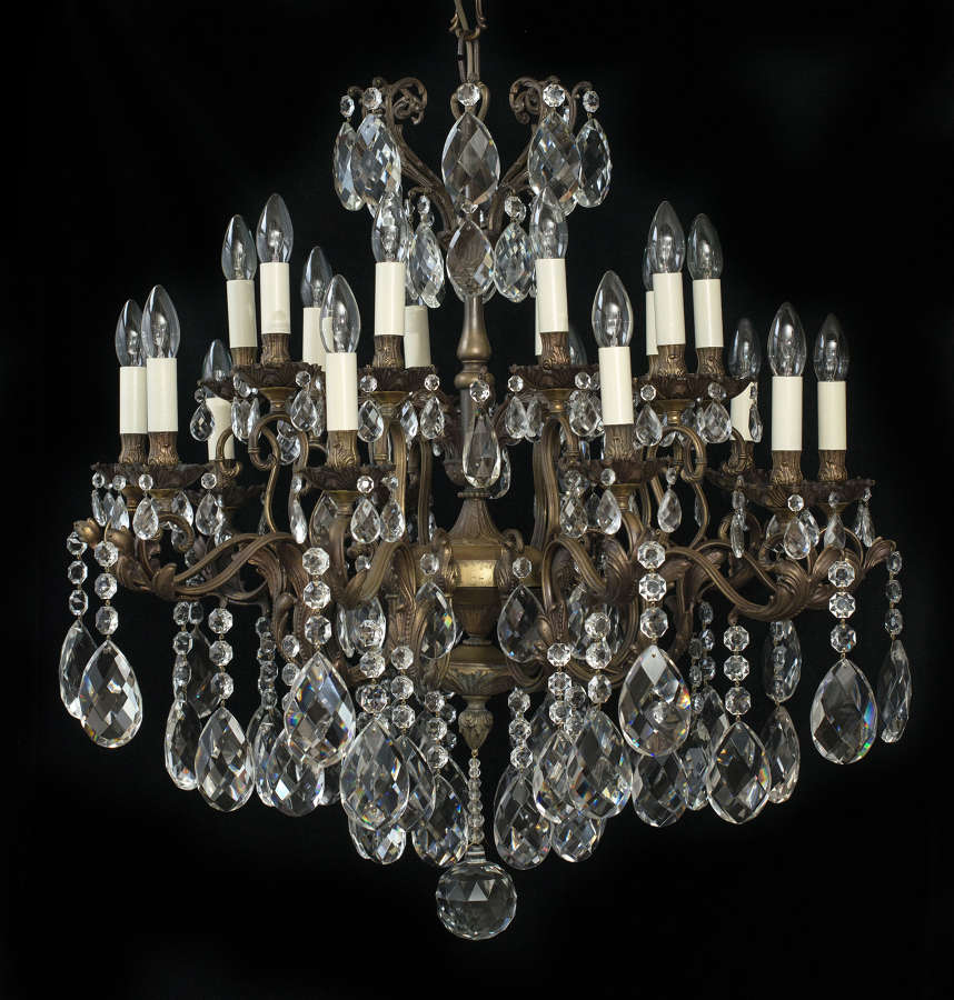 Large 2 Tiered, 20 Light, Bronze Italian Antique Chandelier