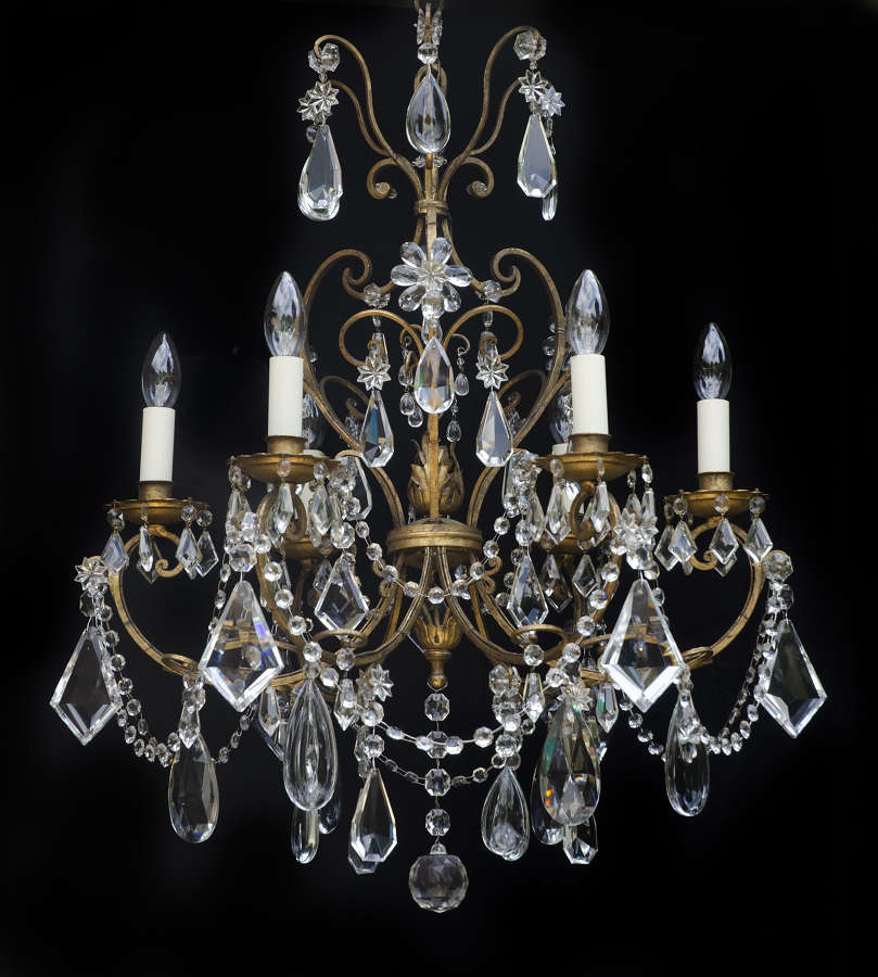 6 light Italian Florentine Antique Chandelier, with Crystal Flowers