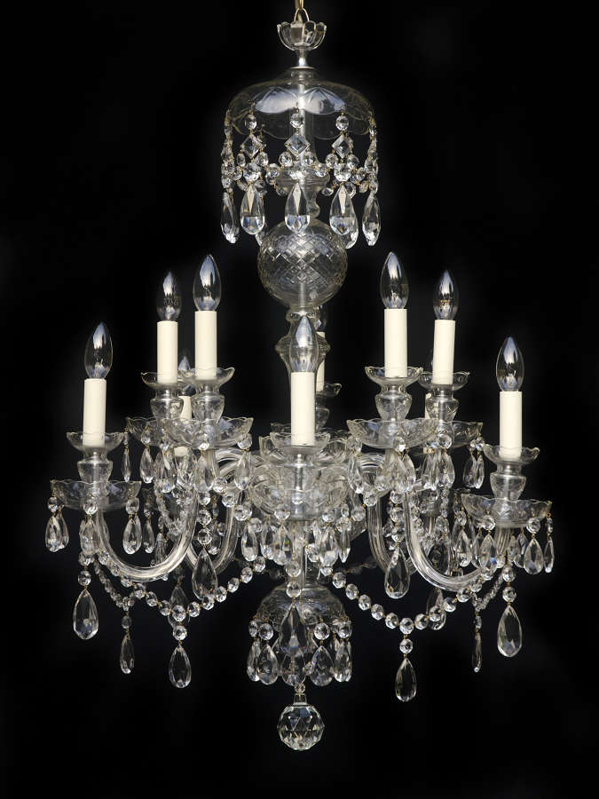 Large 2 Tiered, 10 Light, Italian Glass Arm Antique Chandelier