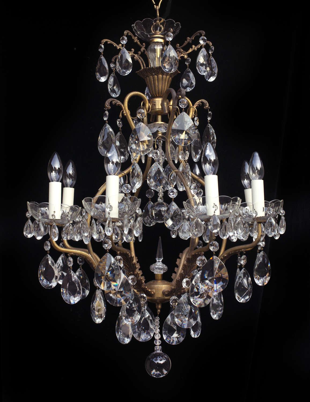8 Light Italian Birdcage Style Antique Chandelier
