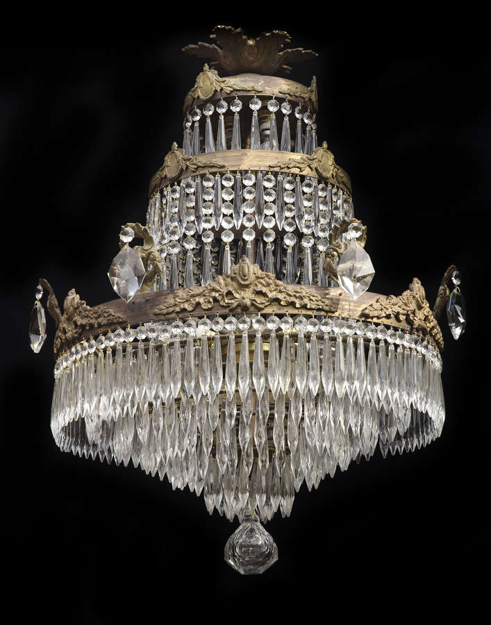 8 Light 3 Tiered Italian Antique Chandelier with icicle drops