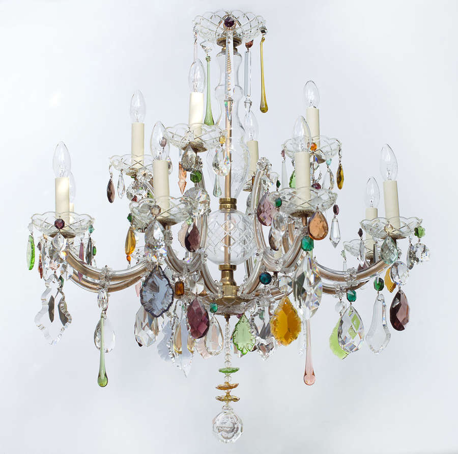 Large 12 light Vintage Marie Therese Chandelier with coloured drops