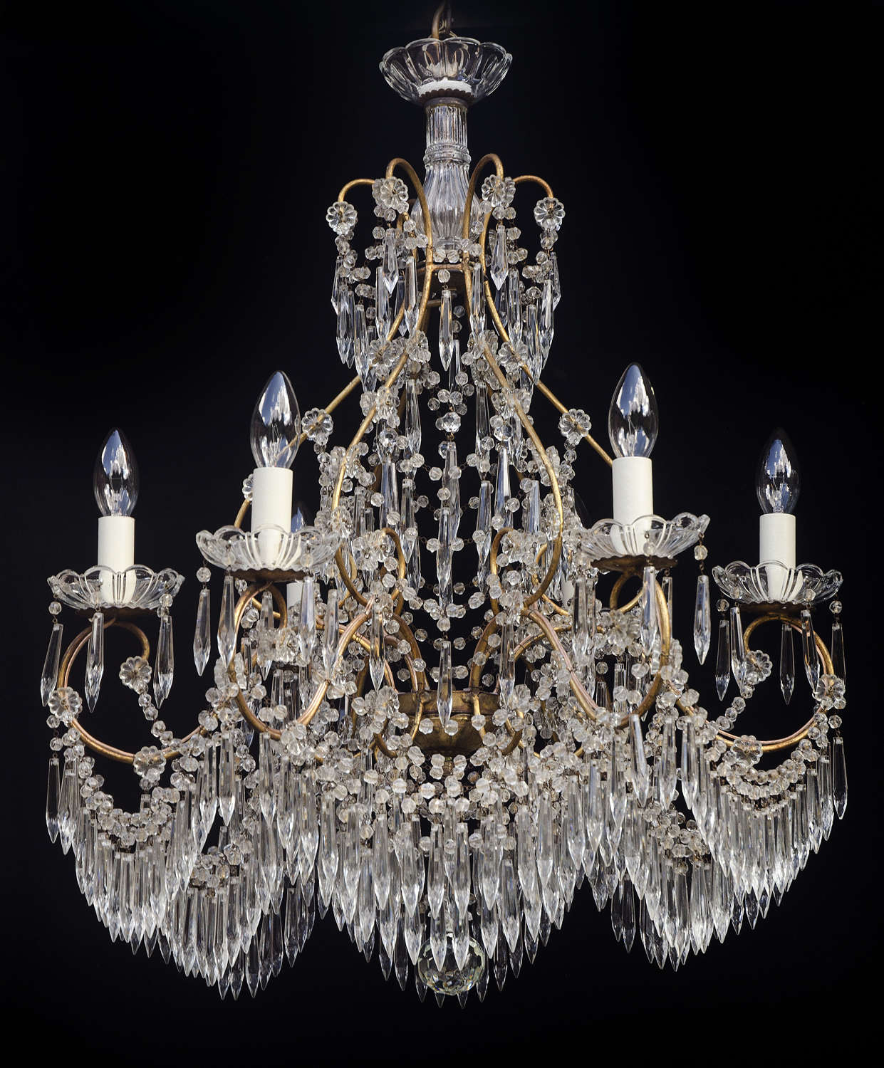6 light Italian Antique Chandelier with drapes of icicle drops