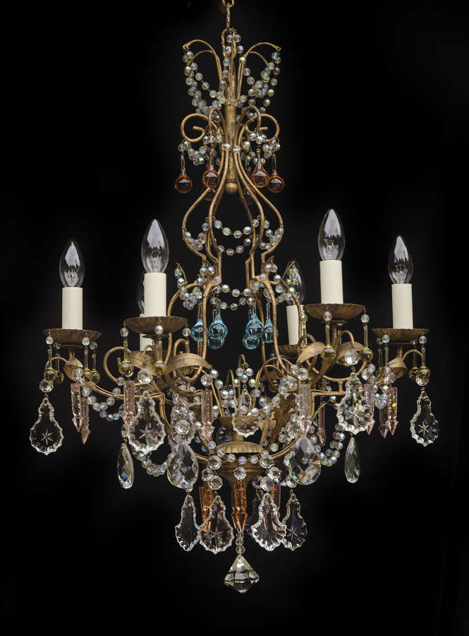 6 light Italian Florentine Chandelier with coloured drops