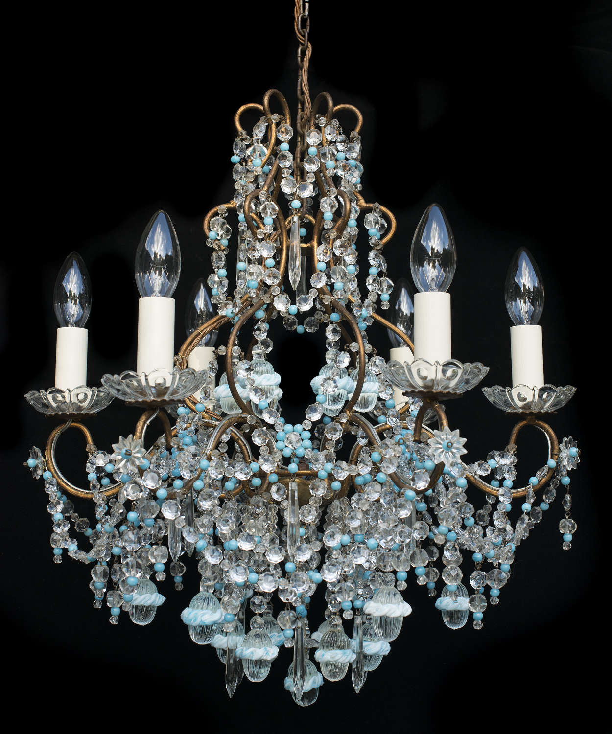 6 light Italian Vintage Florentine Chandelier with Murano glass drops
