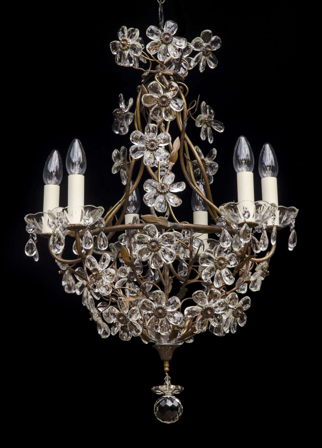 6 light Italian Florentine Antique Chandelier with crystal flowers