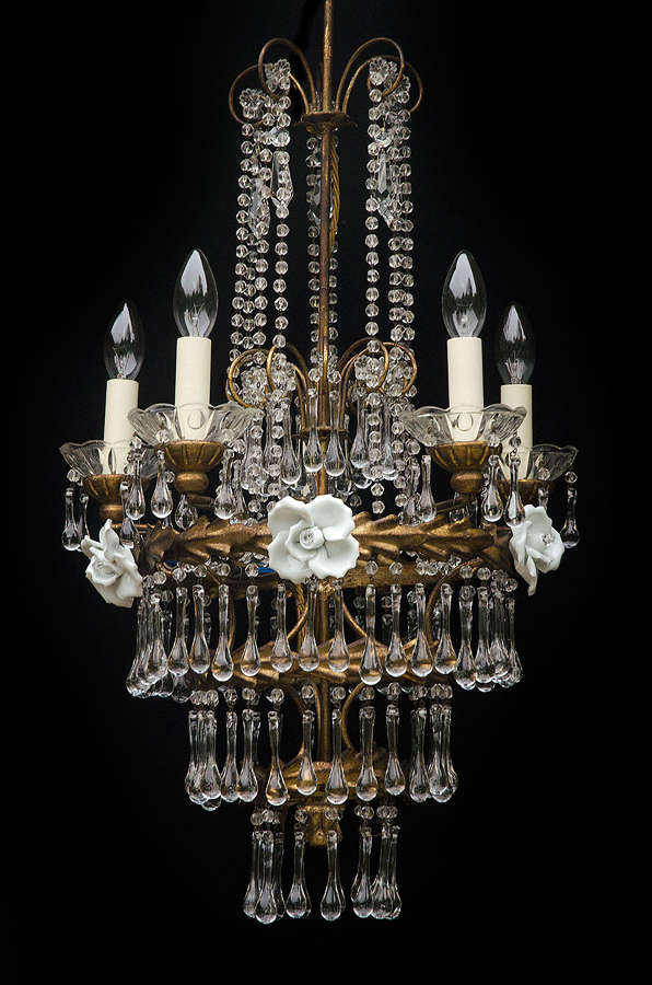 PAIR of 5 light and 3 light Italian Florentine Antique Chandeliers