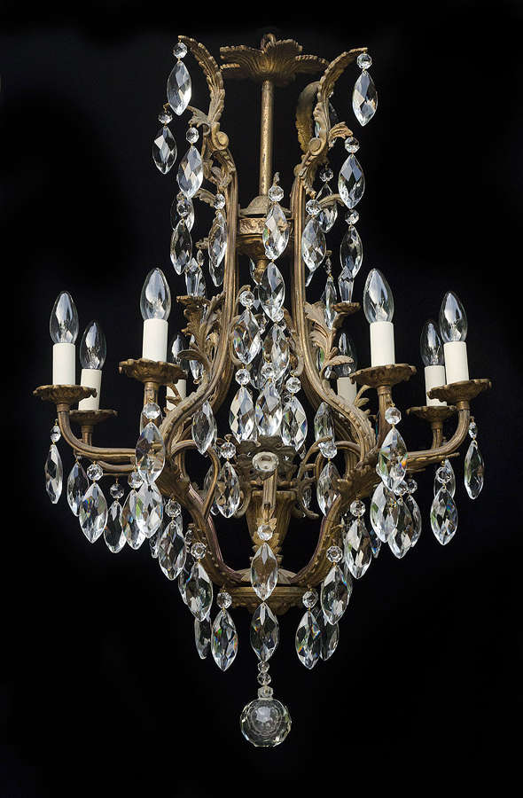 9 light Italian Birdcage Style Antique Chandelier