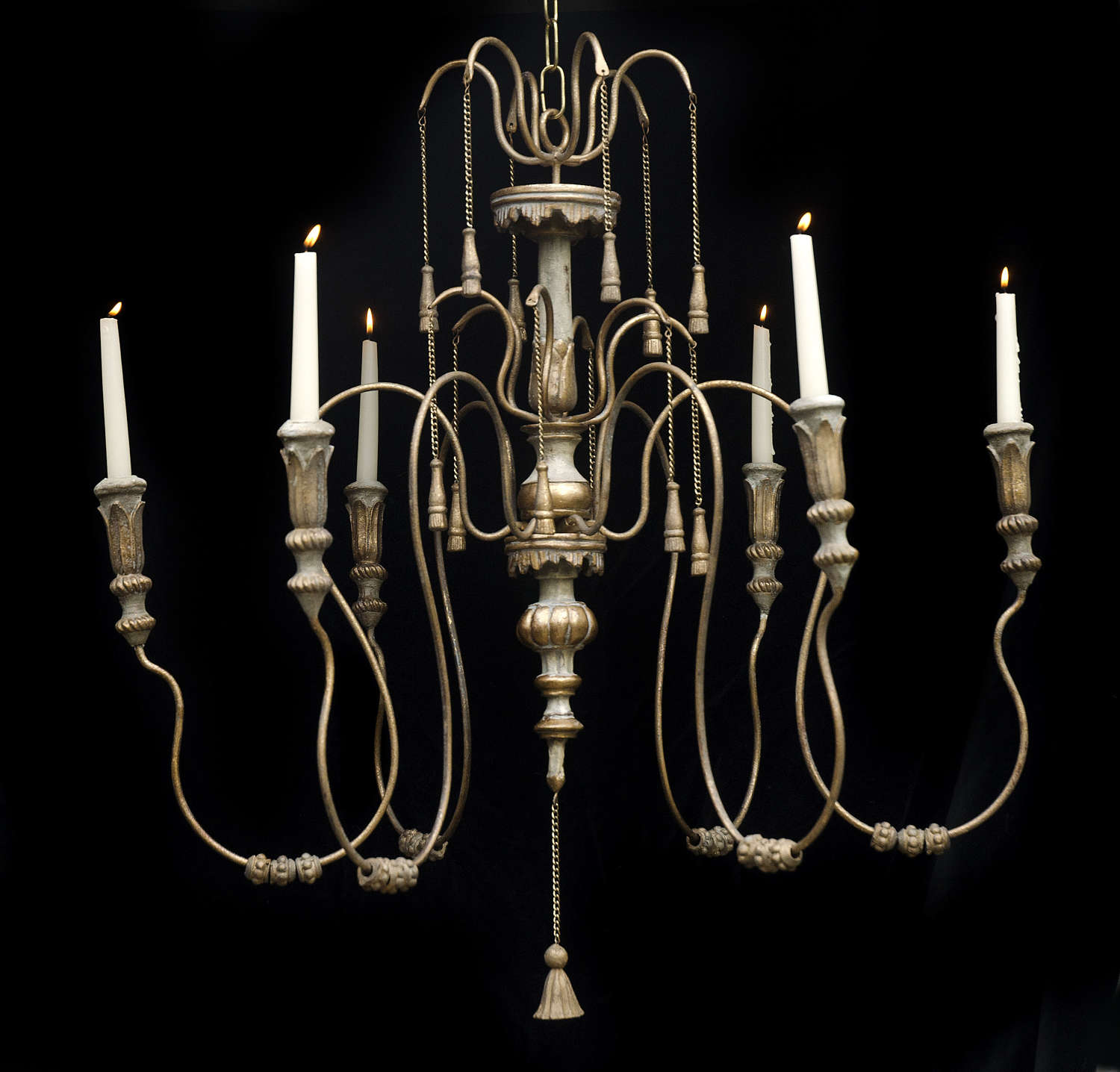 Large 6 arm vintage candelabra chandelier