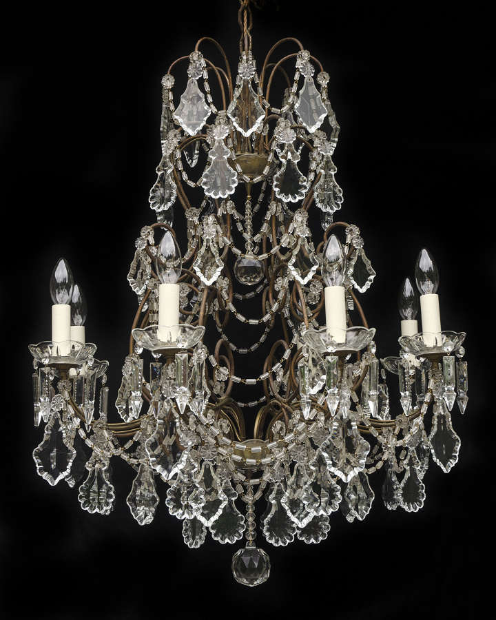 Large 8 light Italian Vintage Chandelier with crystal leaves