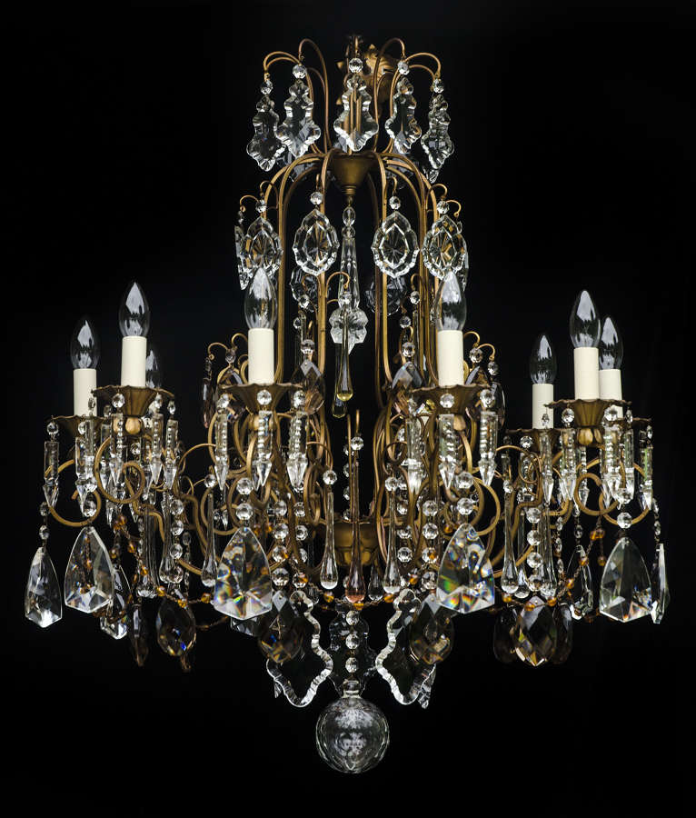 Large 10 light Italian Chandelier with coloured and crystal drops