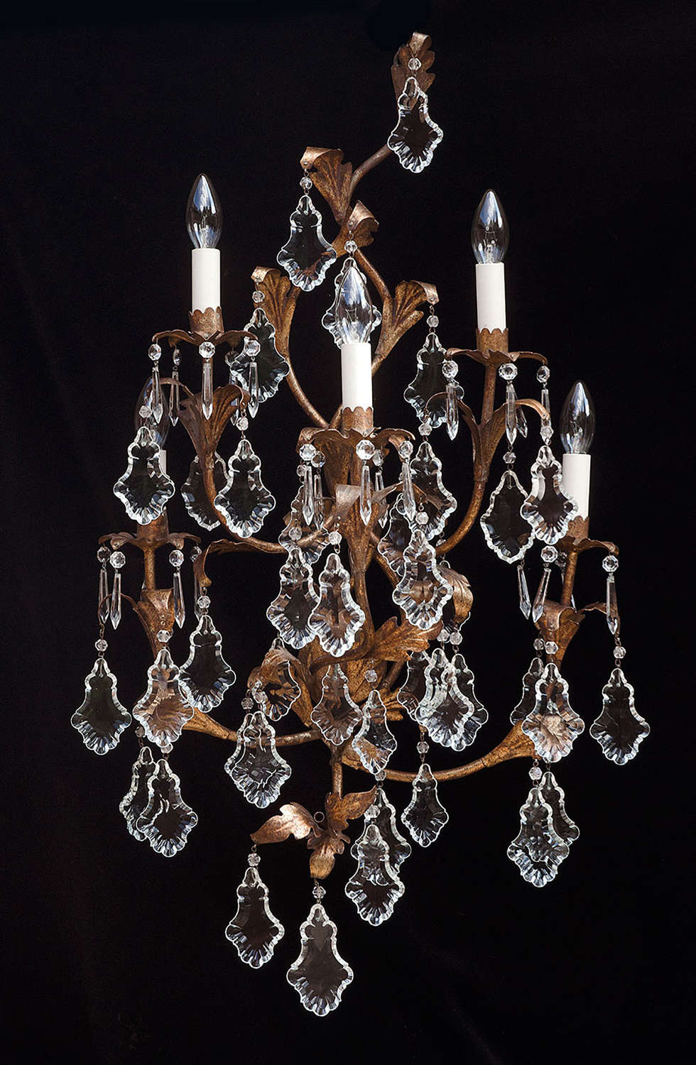 Large Pair of 5 light Italian Antique Wall Lights with crystal leaves