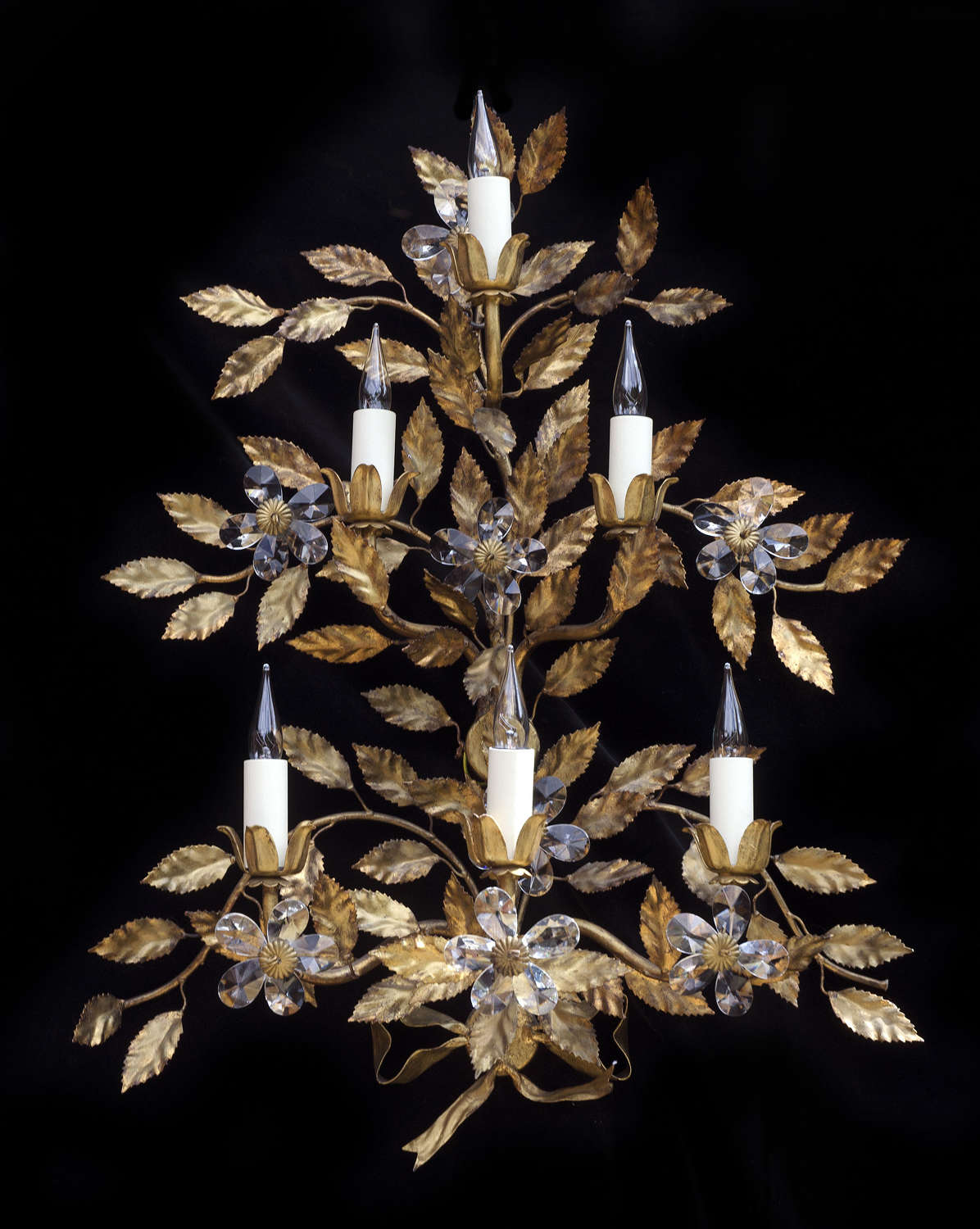 Large 6 light Italian wall applique with leaves and crystal flowers