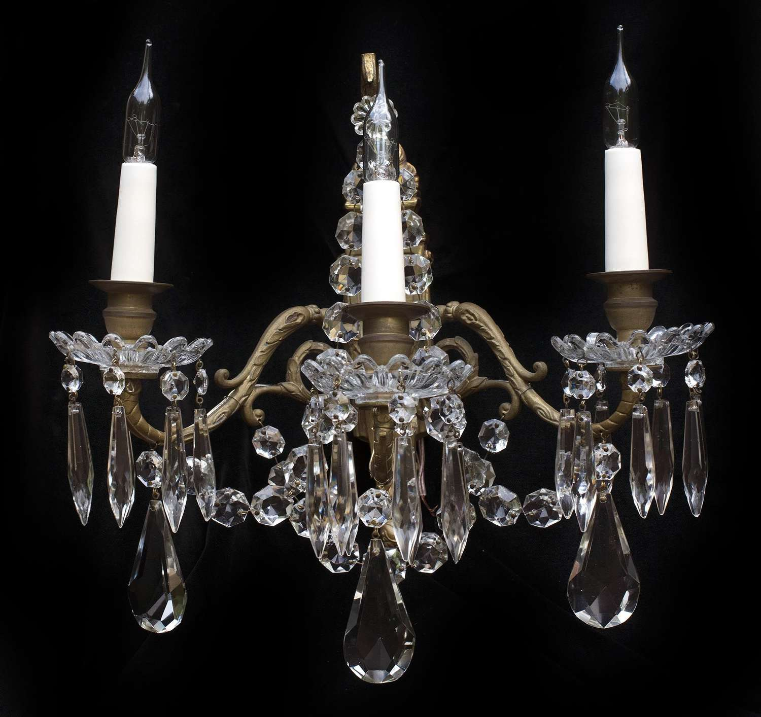 Pair of 3 light French antique wall lights with crystal drops