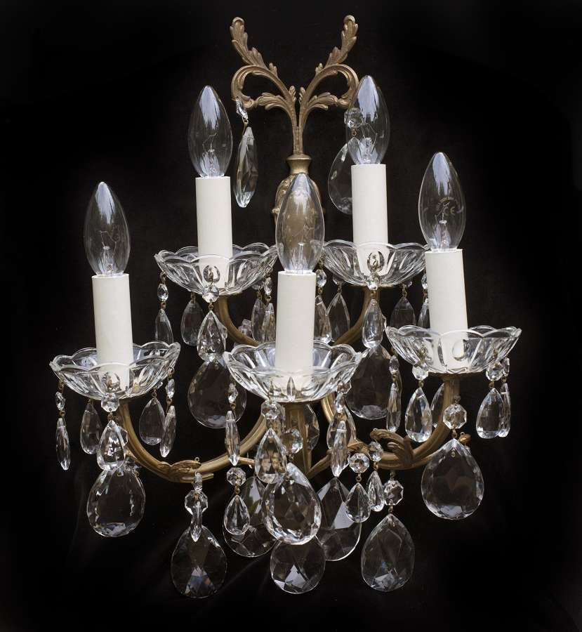 Large pair of 2 tiered antique Italian wall lights with crystal drops