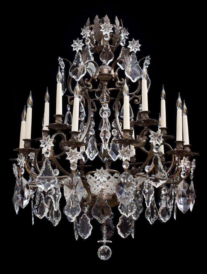Large 2 tiered 15 light bronze antique Italian chandelier